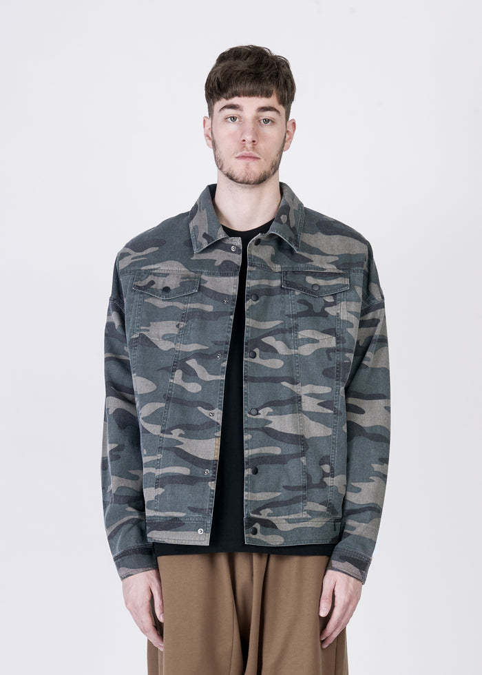 Heavy Wash Denim Worker Shirt in Camo