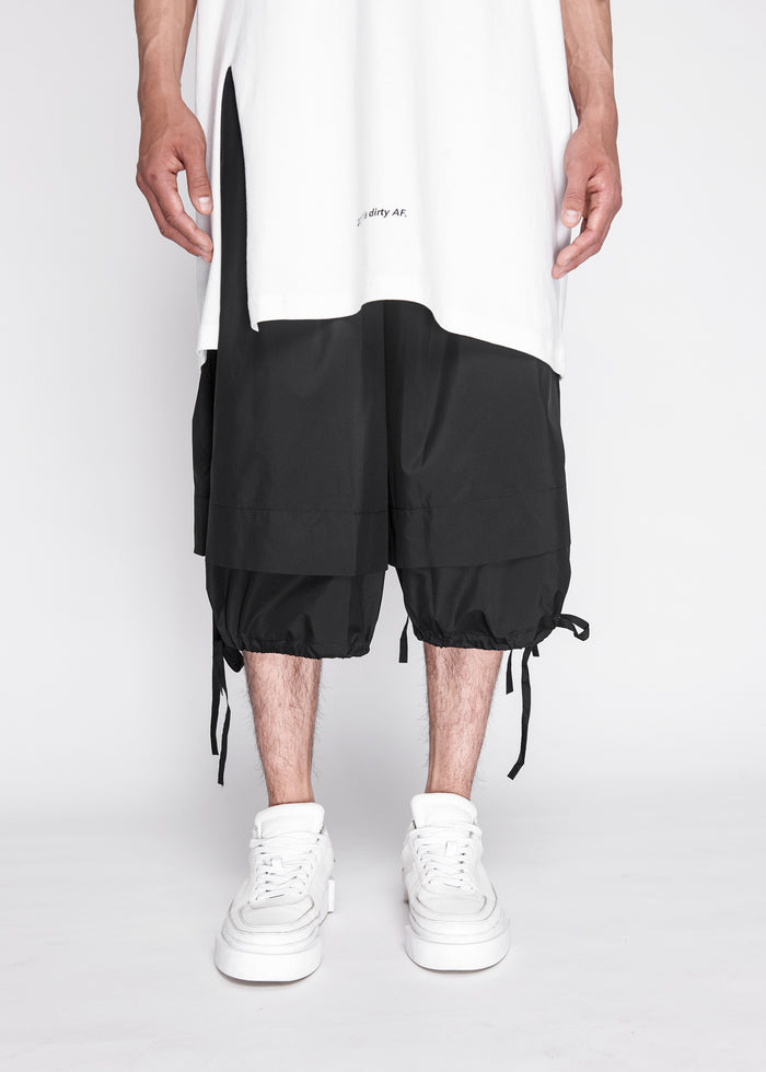 Jersey Shorts With Drawstring Detailing in Black