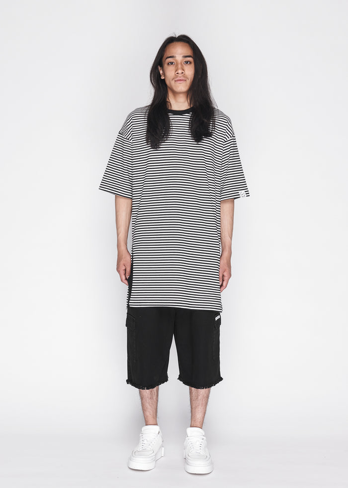 Longline Side Slit Stripe Tee