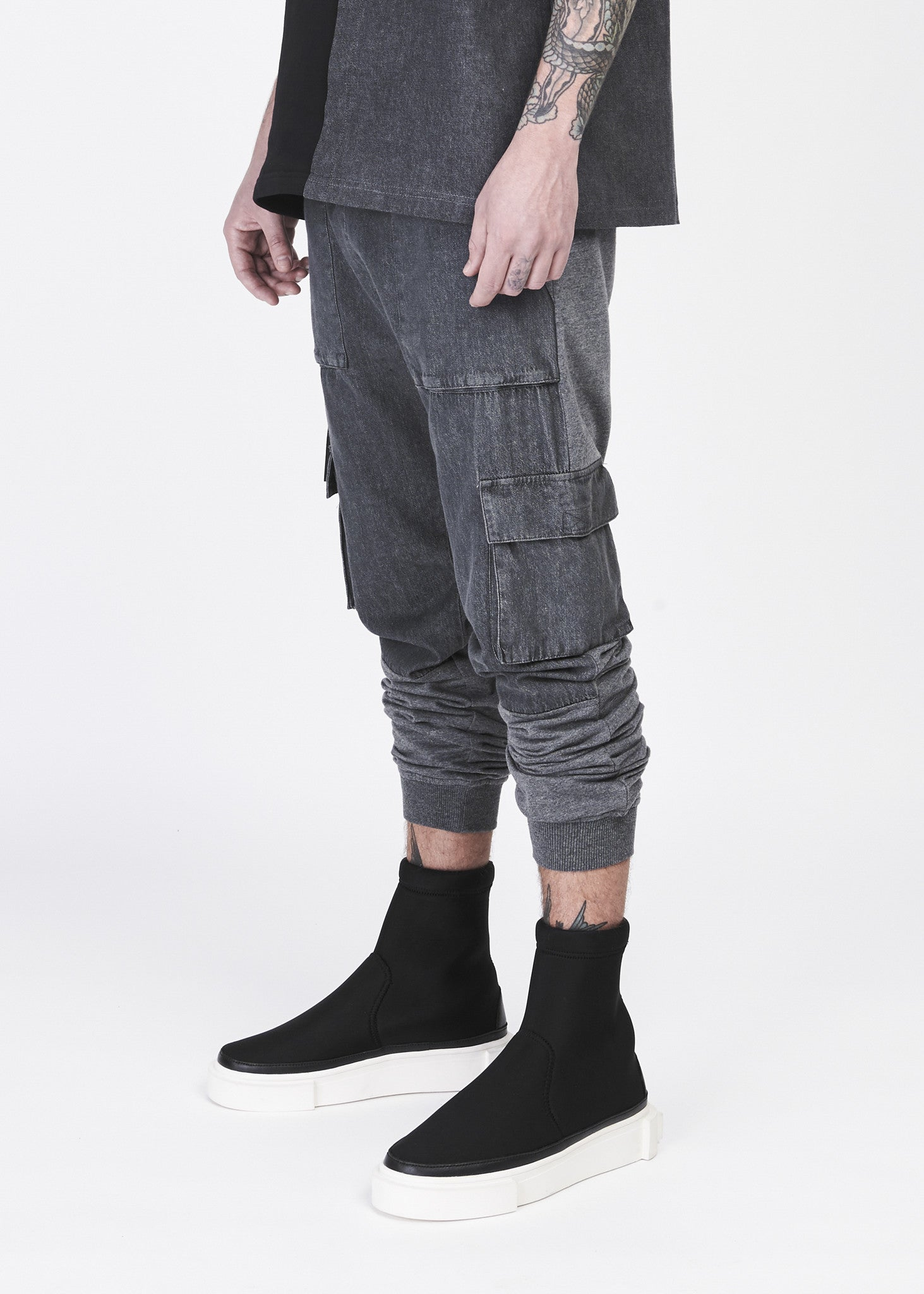Soft Washed Denim Spliced Jogger Pants - CGNY