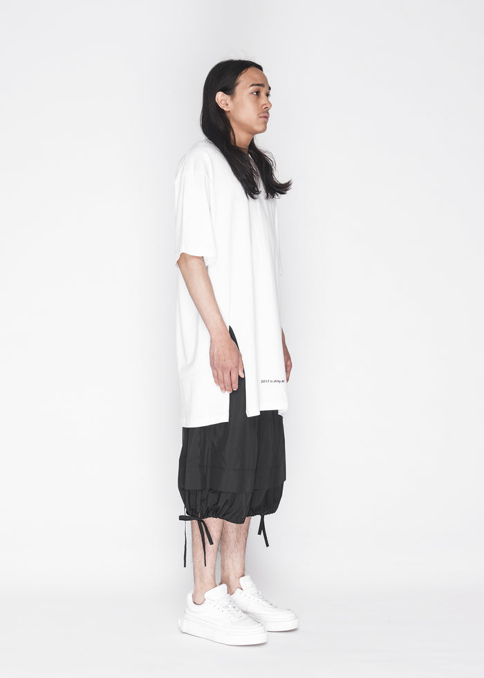Longline Side Slit Tee in Ivory