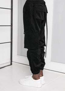 Corduroy Jogger Pants in Black - CGNY