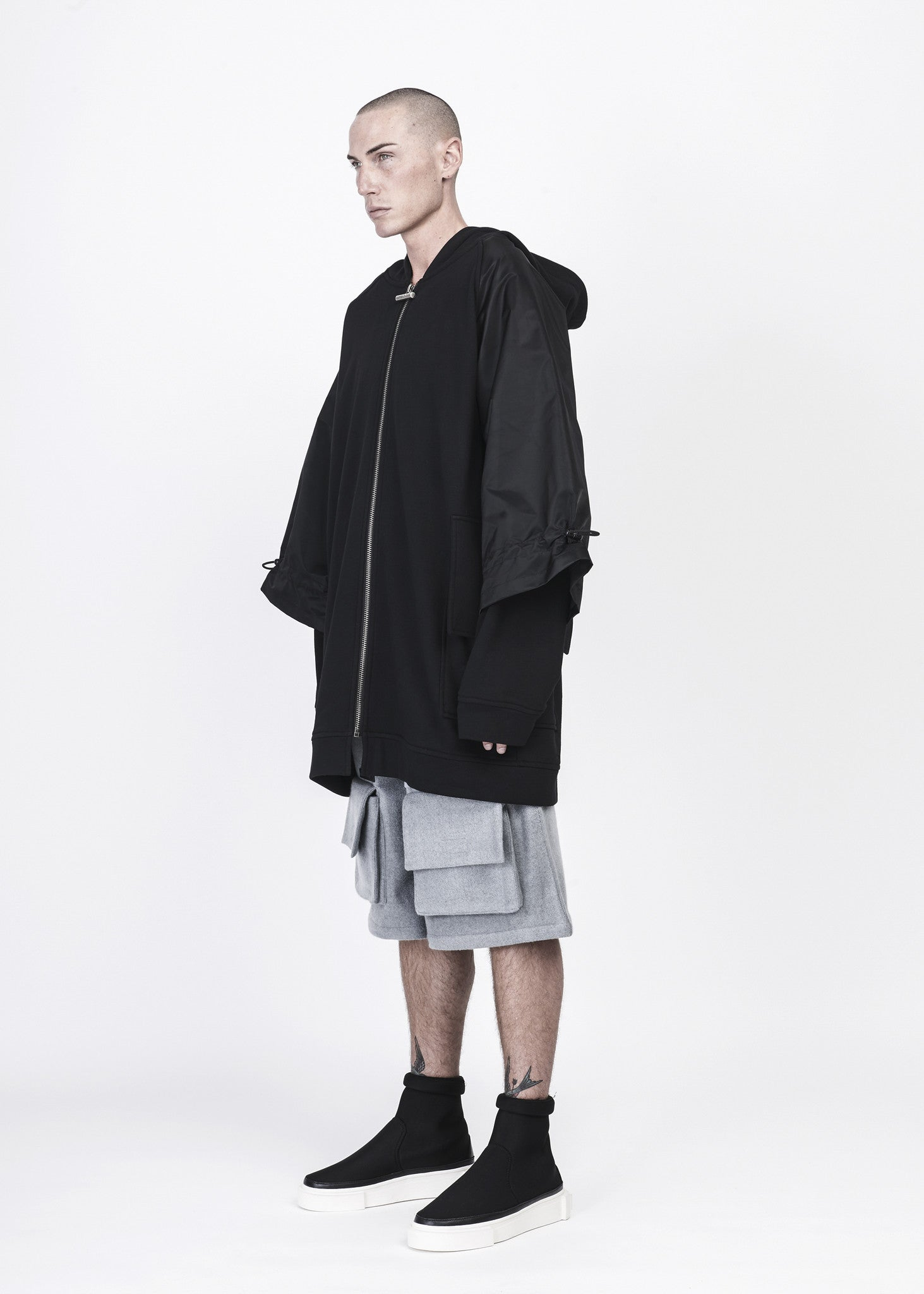 Oversized Full Zip Hoodie with Layered Sleeves - CGNY