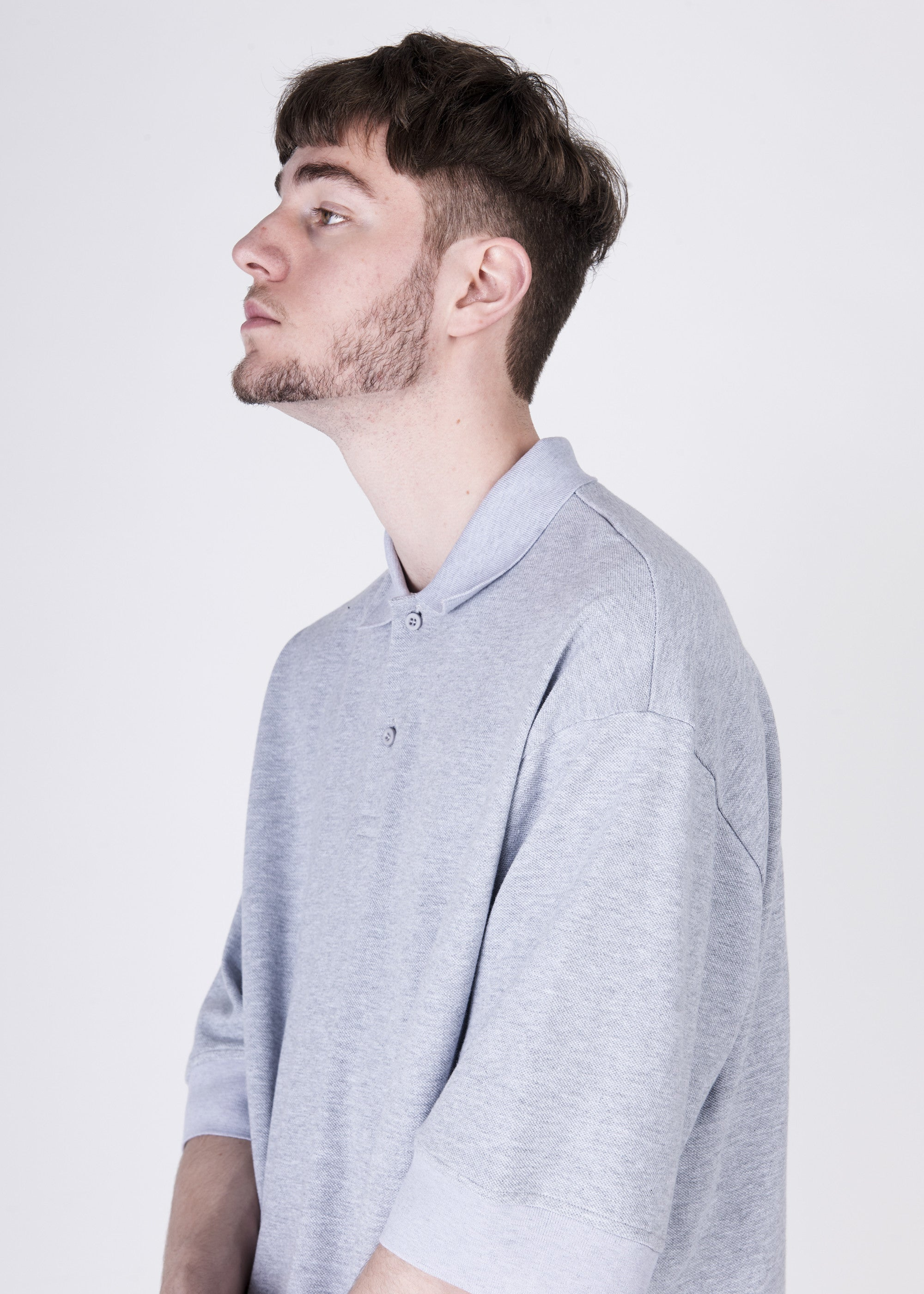 Oversized Polo Tee in Grey