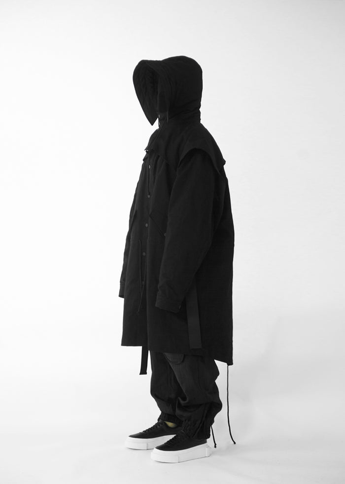 CGNY 2019 S/S Oversized Black Parka with Buckled Hood - CGNY