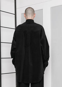 Oversized Corduroy Long Shirt in Black - CGNY