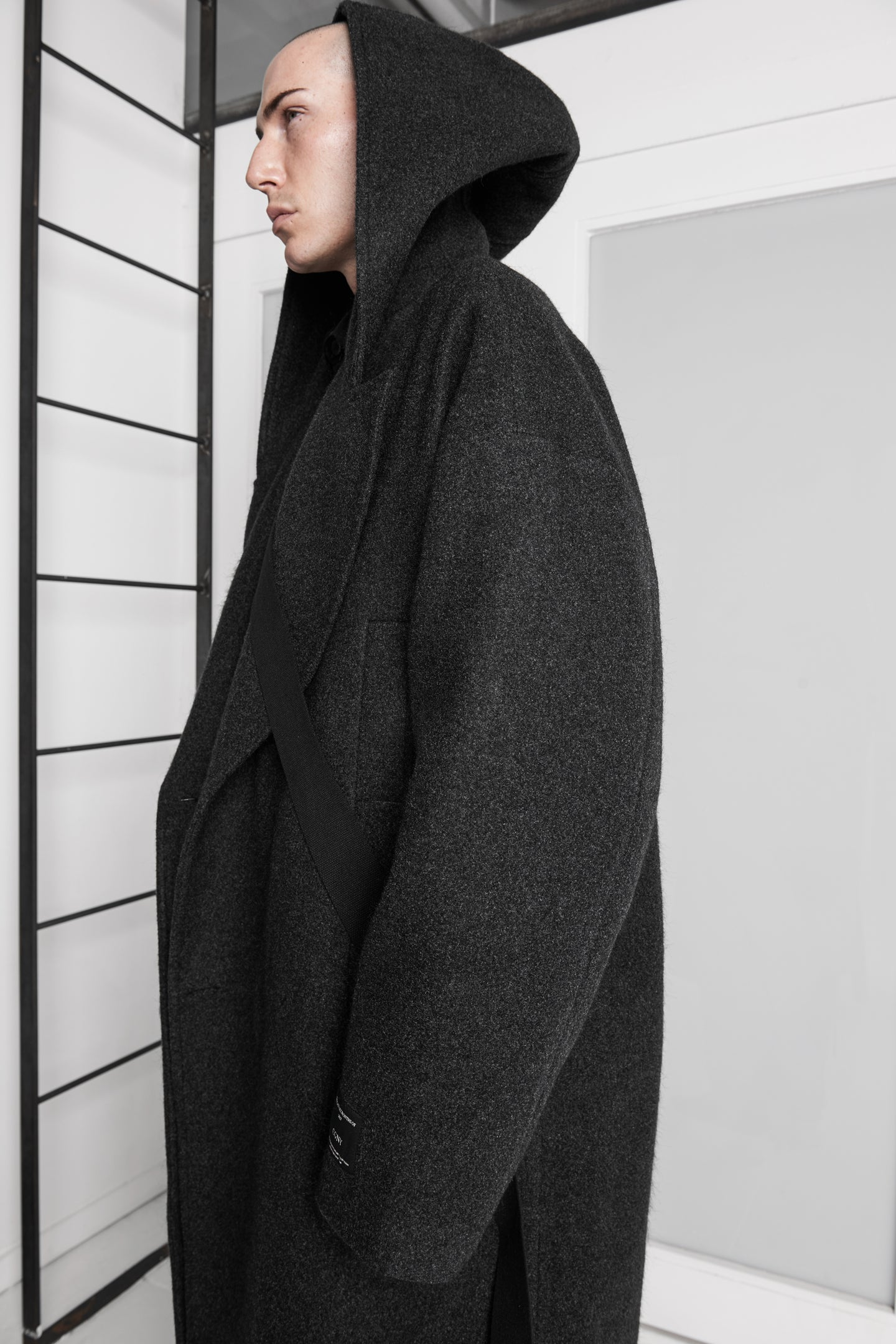 Oversized Long Hooded Coat in Black - CGNY