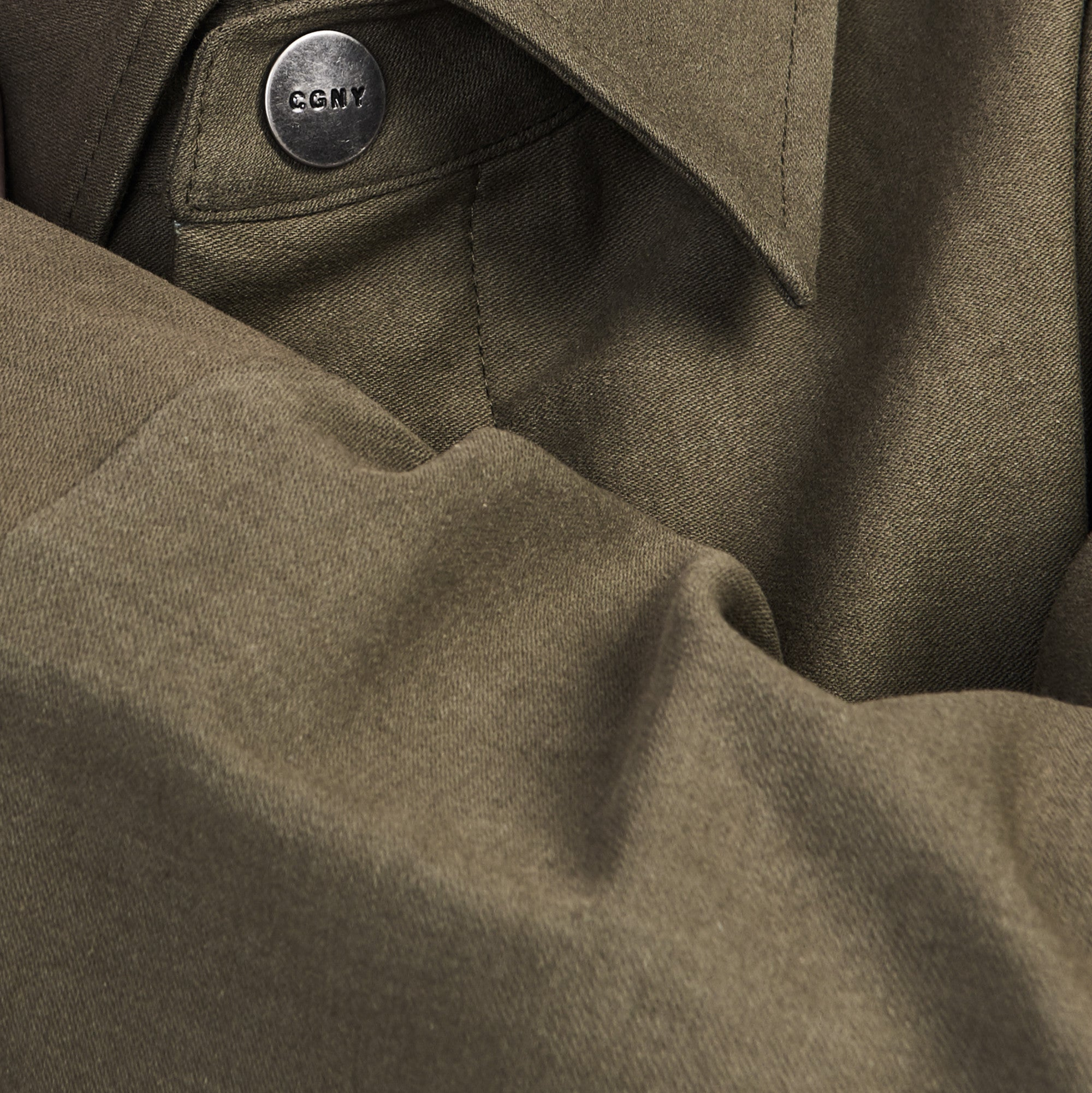 Longline Twill Jacket with Multi-Pockets in Olive - CGNY