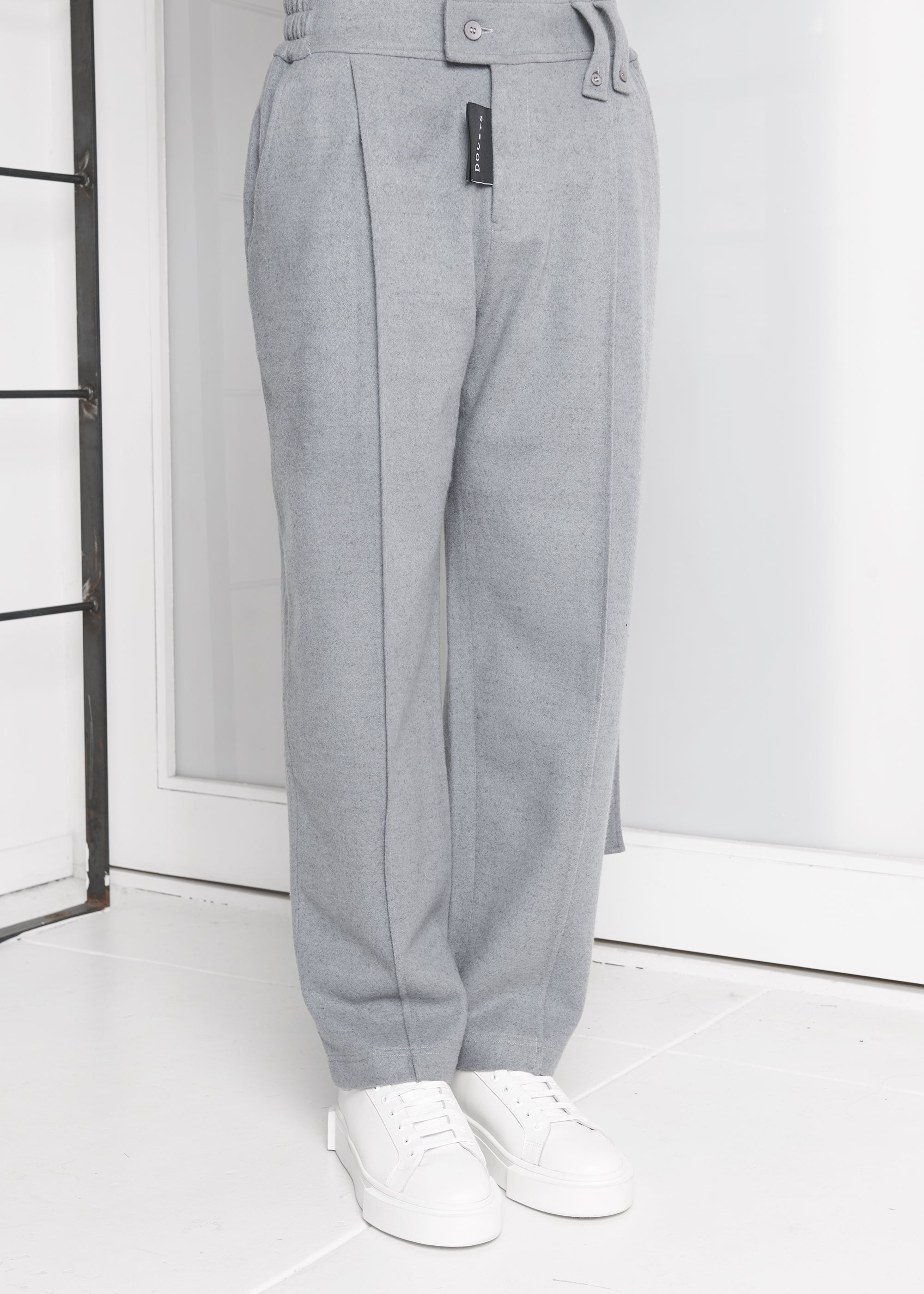Faux Wool Embroidery Trouser with Strap - CGNY