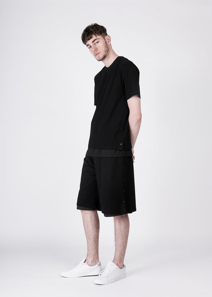 Double Layer Tee With Button Sides