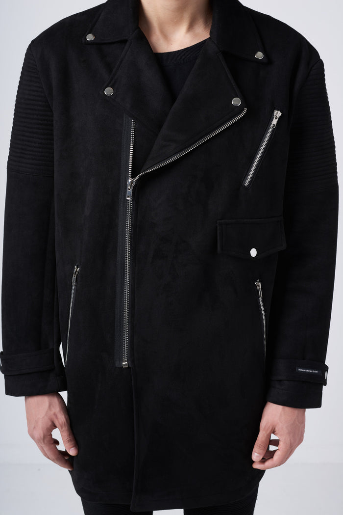Longline Faux Suede Biker Jacket in Black - CGNY
