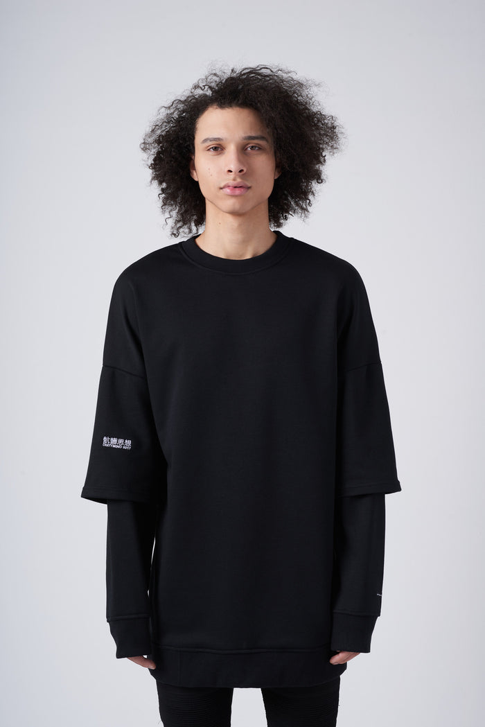 骯髒思想 Crewneck With Double Layer Sleeves in Black - CGNY