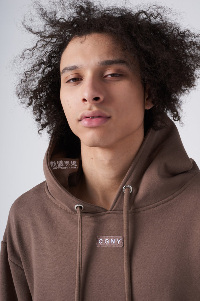 骯髒思想 Embroidery Box Logo Hoodie in Cedar - CGNY