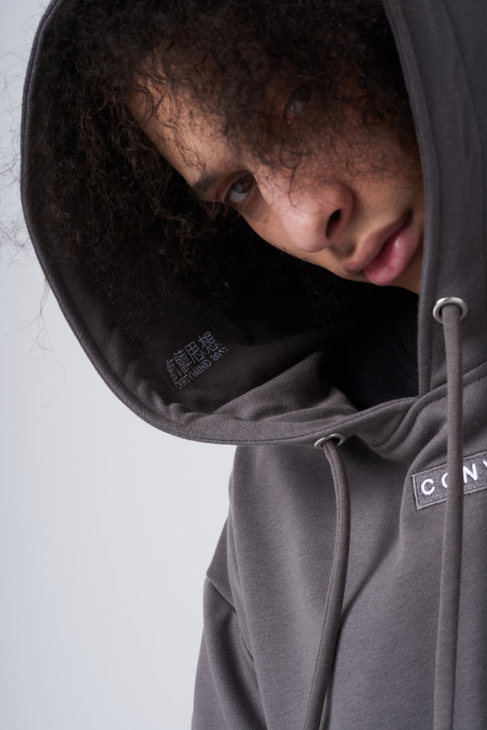 骯髒思想 Embroidery Box Logo Hoodie in Stone Grey - CGNY