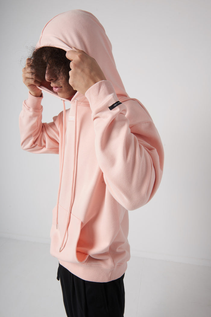 骯髒思想 Embroidery Box Logo Hoodie in Peach - CGNY