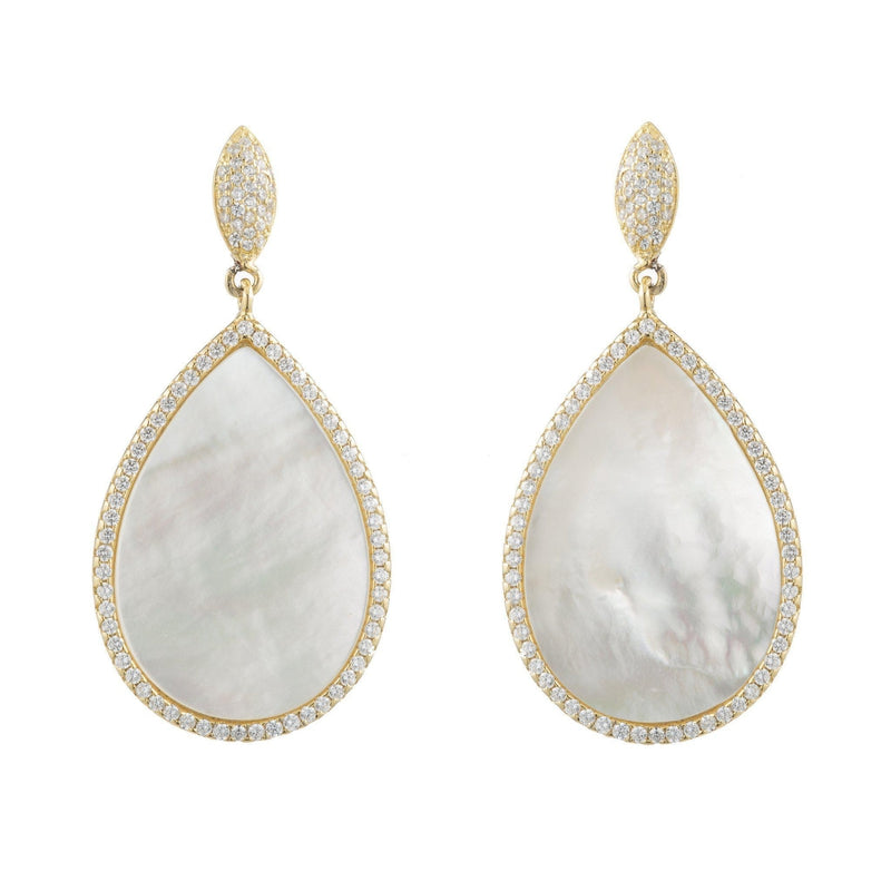 Mother of Pearl Teardrop Earrings with CZ Pavé Halo-Earrings-Ashley Schenkein Jewelry Design