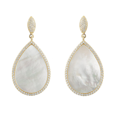 Bridal Vermeil CZ Pearl Dangle Earring