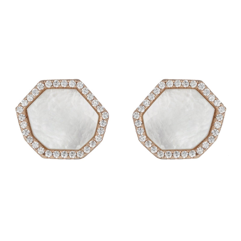 Pavé Mother of Pearl Hexagon Stud Earrrings
