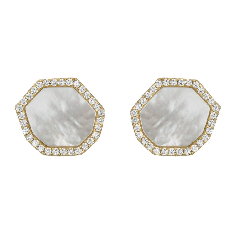 Pavé Mother of Pearl Hexagon Stud Earrrings-Earrings-Ashley Schenkein Jewelry Design