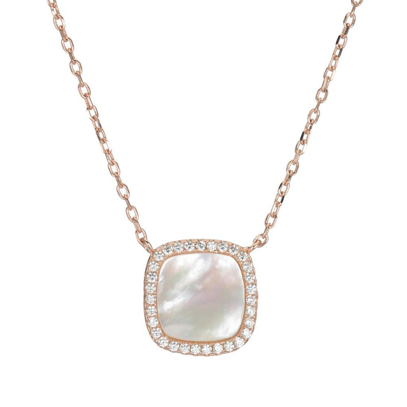 Pavé and Mother of Pearl Square Necklace-Necklace-Ashley Schenkein Jewelry Design