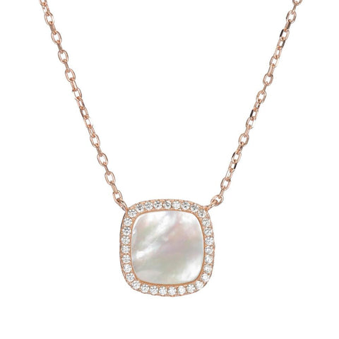 Pavé and Mother of Pearl Square Necklace
