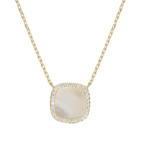 Pave and Mother of Pearl Square Necklace