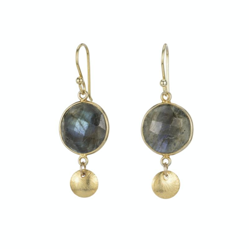 Boulder Gemstone Brushed Disc Earrings