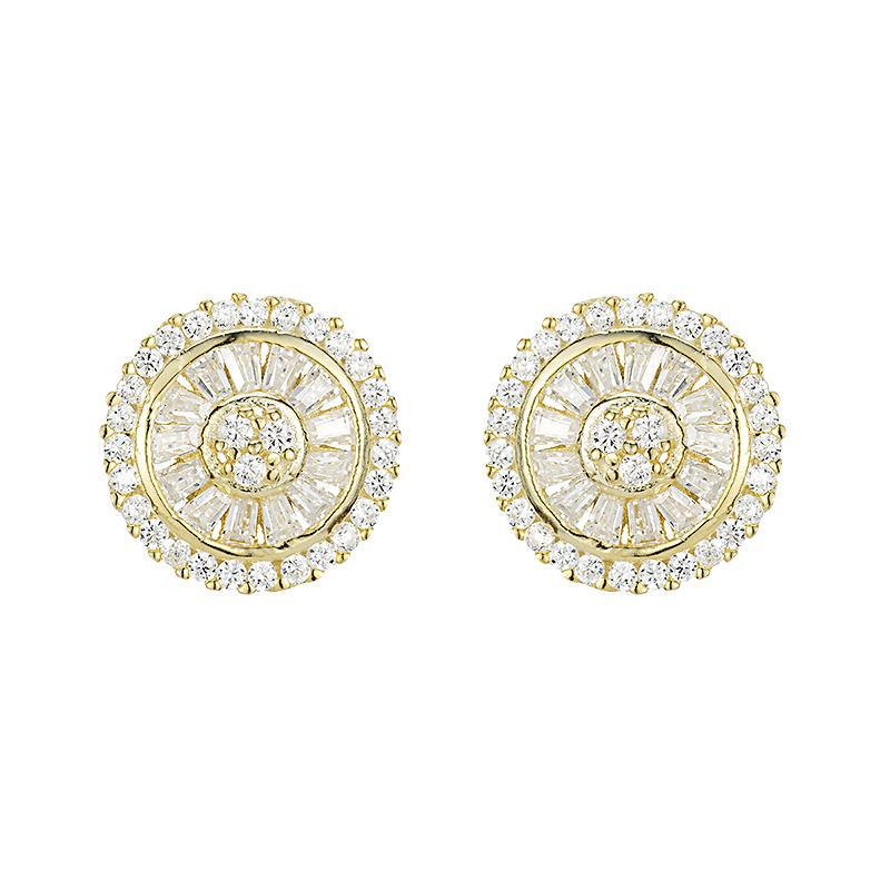 baguette studs pictured in gold with cubic zirconia stones