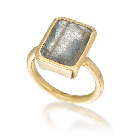 Large Emerald Cut Bezel Ring