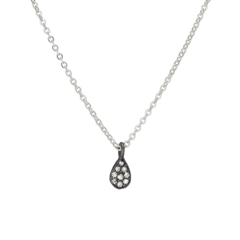 Brooklyn Matte Silver Disc and Diamond Necklace