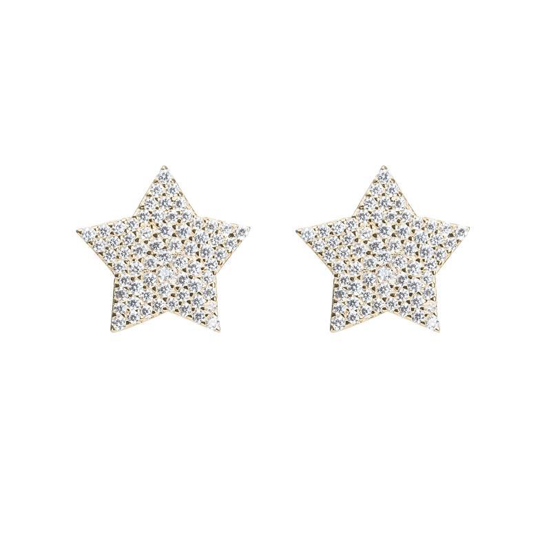 14kt yellow gold star studs
