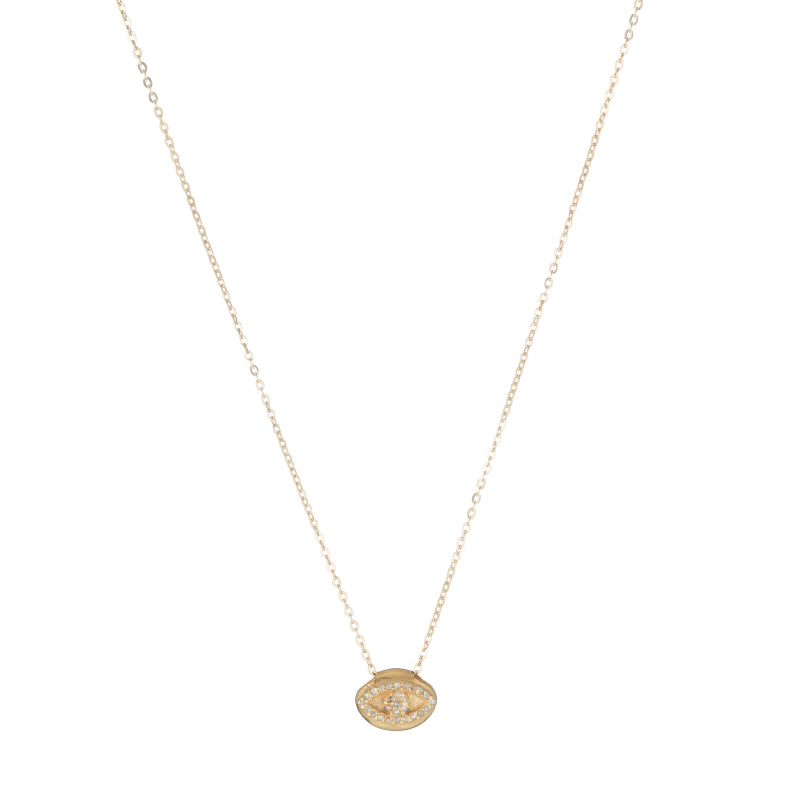 Brooklyn Pavé Diamond Evil Eye Necklace-Necklace-Ashley Schenkein Jewelry Design