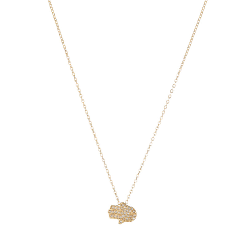 Brooklyn Pavé Diamond Hamsa Necklace-Necklace-Ashley Schenkein Jewelry Design