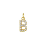 Diamond Initial Charm 14K Yellow Gold Necklace