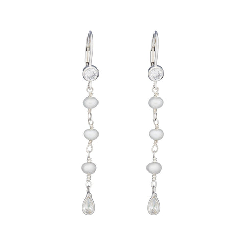 Bridal Single Teardrop CZ Earring