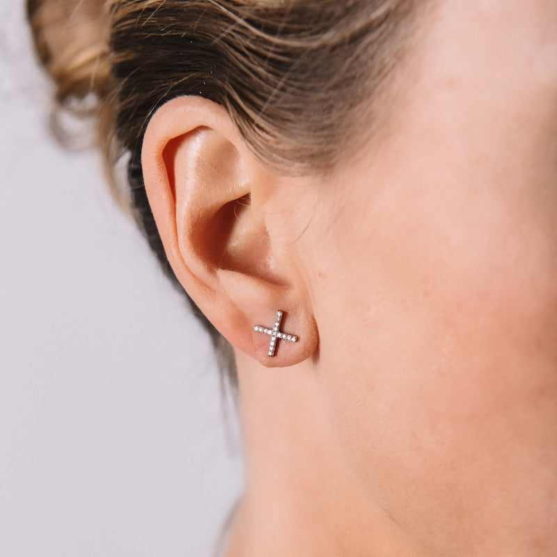 Brooklyn Diamond Pavé X Earrings-Earrings-Ashley Schenkein Jewelry Design