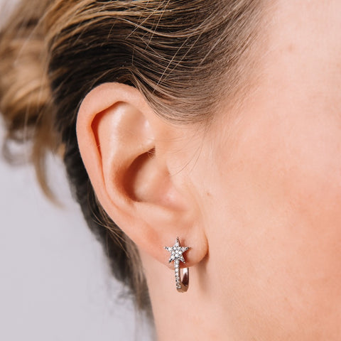 Brooklyn Diamond Pavé Star Huggies Earrings