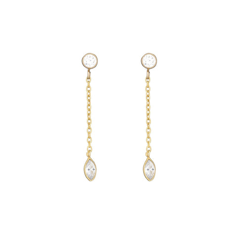 Bridal Double Strand CZ Drop Earrings