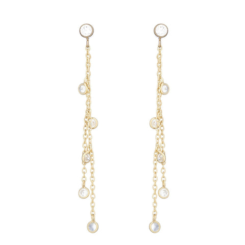 Bridal Princess CZ and Coin Drop Earrings