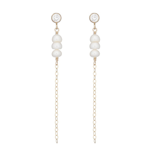 Bridal Vermeil White Topaz Dangle Earring
