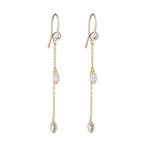 Bridal Double Marquis CZ Drop Earrings