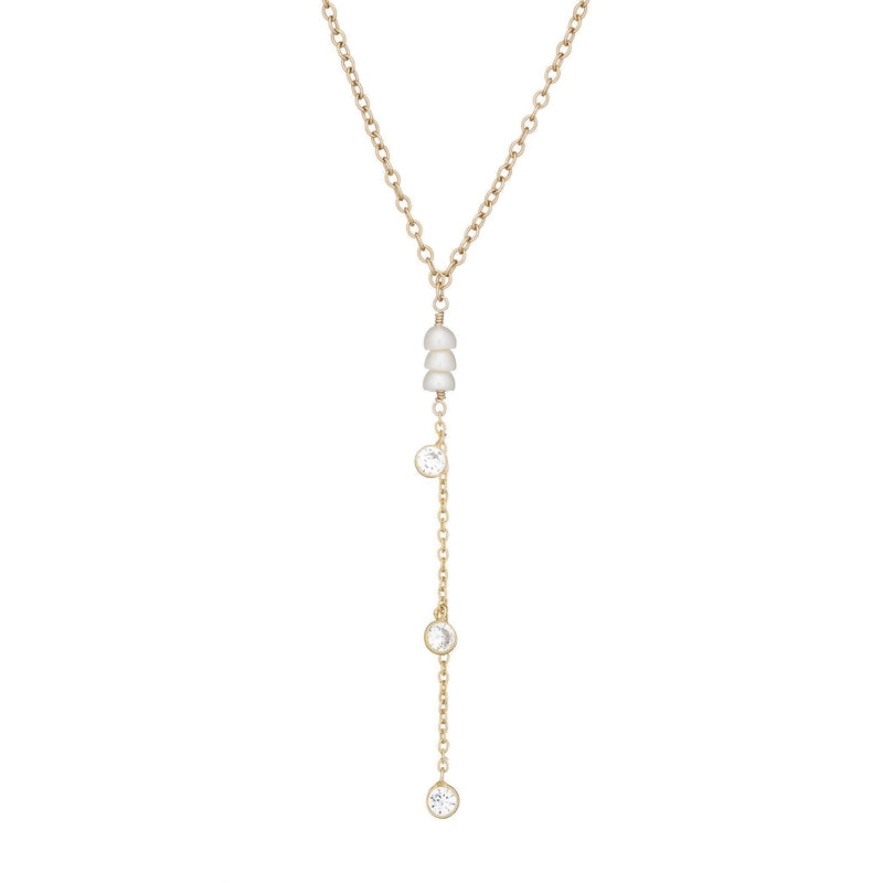 Bridal Yellow Gold, Pearl, and CZ Y-drop Necklace