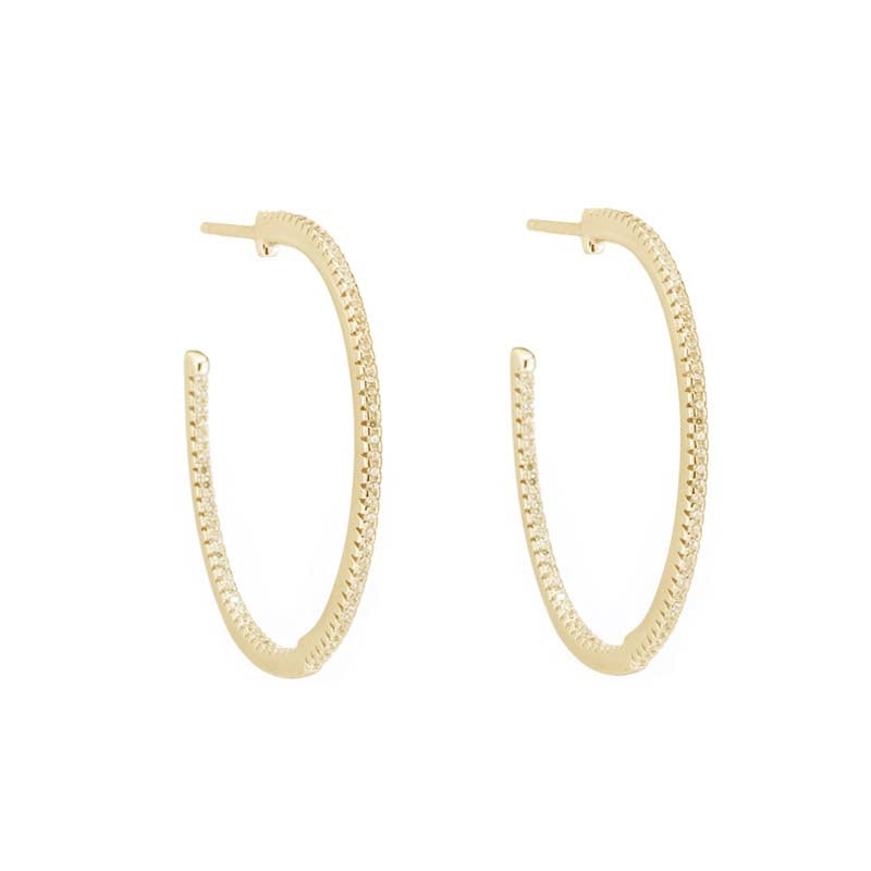 Melrose CZ Inside Outside Pavé Hoop Earrings-Earrings-Ashley Schenkein Jewelry Design