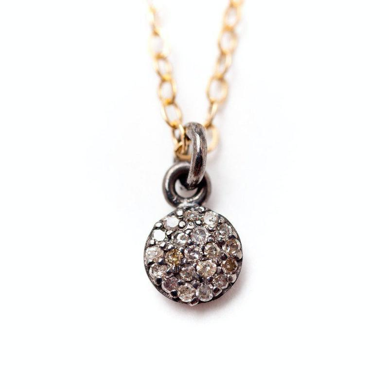 Brooklyn Small Diamond Disc Necklace-Necklace-Ashley Schenkein Jewelry Design