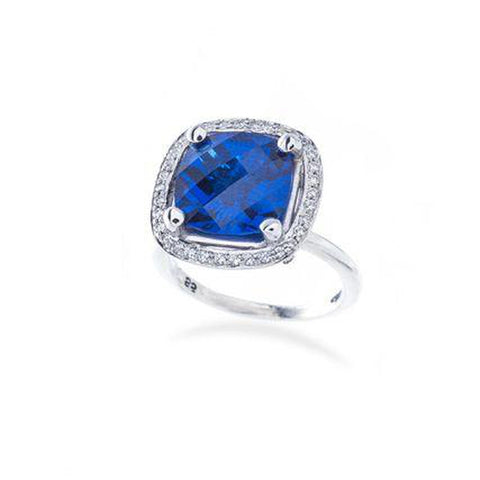 Sapphire and Princess Diamond Engagement Ring Setting