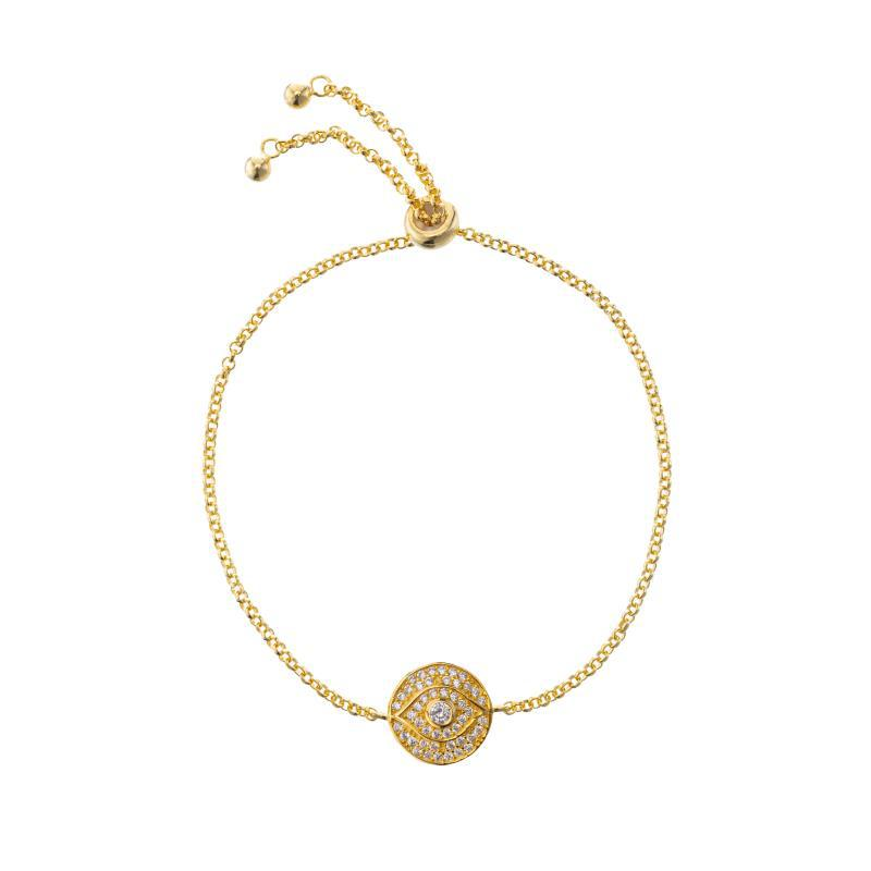 Melrose CZ Pavé Evil Eye Bolo Bracelet-Bracelets-Ashley Schenkein Jewelry Design