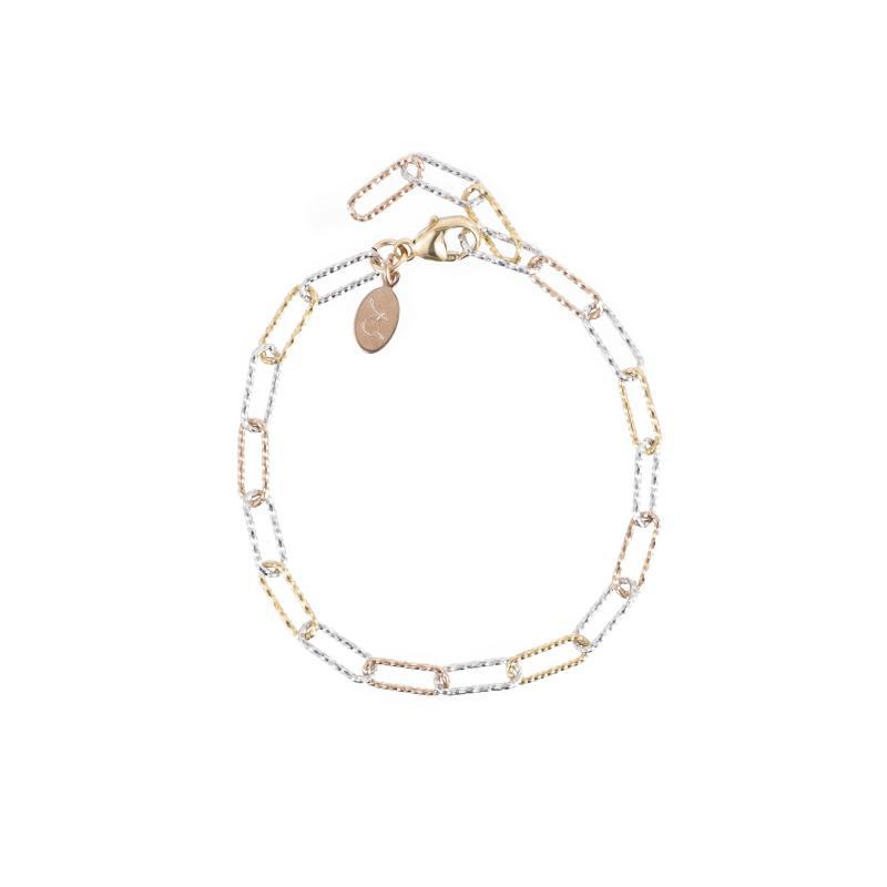 Rose Gold, Yellow Gold and Sterling Silver Paperclip Bracelet