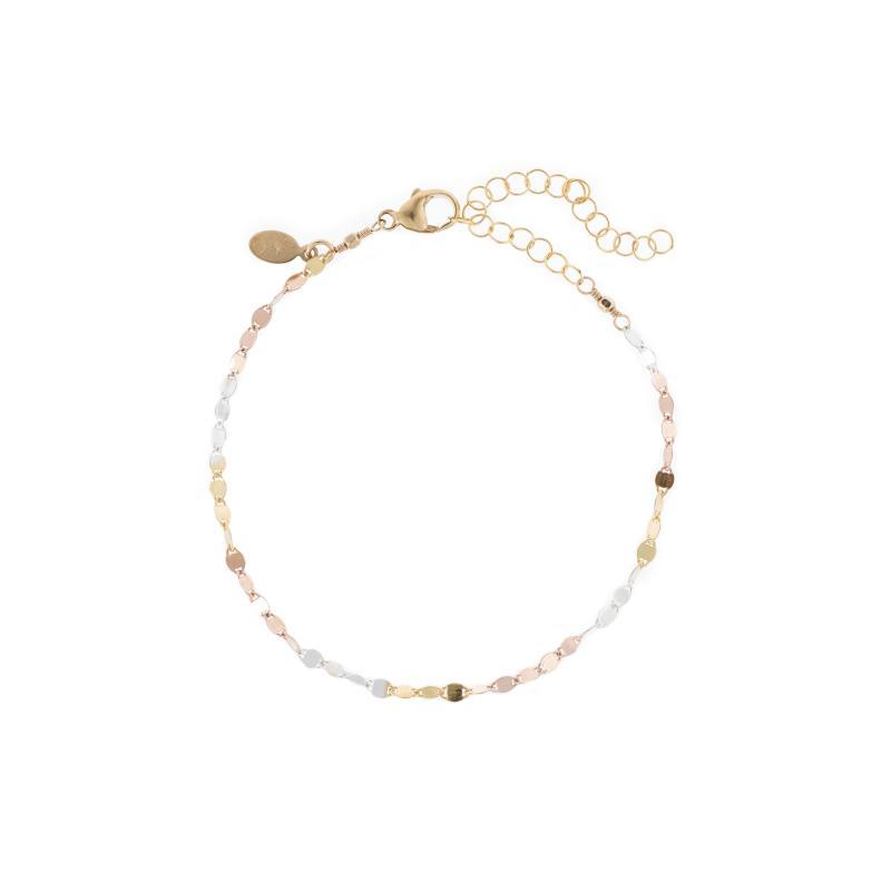 Rose Gold, Yellow Gold and Sterling Silver mixed bracelet