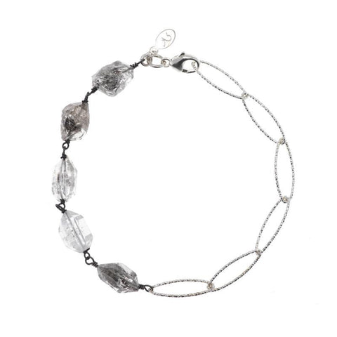 Portland Gemstone and Diamond Cut Chain Bracelet