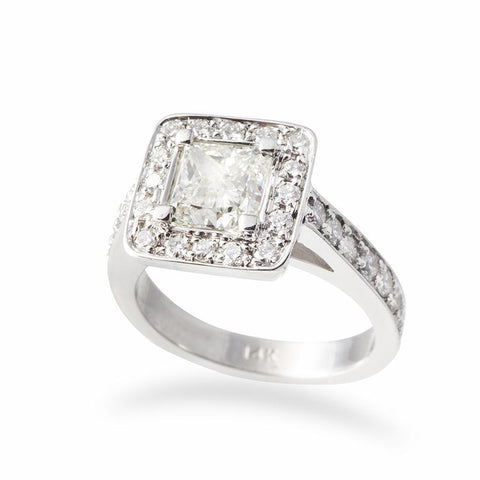 Princess Diamond Bezel Setting Engagement Ring